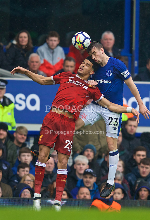 LIVERPOOL, ENGLAND - Saturday, April 7, 2018: Liverpool's Dominic Solanke (left) and Everton's Seamus Coleman during the FA Premier League match between Everton and Liverpool, the 231st Merseyside Derby, at Goodison Park. (Pic by David Rawcliffe/Propaganda)