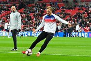 Harry Kane of England warming up before the UEFA European 2020 Qualifier match between England and Czech Republic at Wembley Stadium, London, England on 22 March 2019.