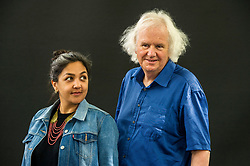 Pictured: Preti Taneja is research fellow in global Shakespeare at Queen Mary, University of London, and Warwick University and an AHRC/BBC New Generation Thinker 2014. She writes about human rights, contemporary India, literature and culture and is the editor of Visual Verse, an online anthology of art and words, and Ron Butlin is a Scottish poet and novelist who was Edinburgh Makar from 2008-14. He has written several novels, collections of short stories, poems and plays.<br /> <br /> Book fanatics headed to Charlotte Square in Edinburgh which is the hub of the international Book Festival to meet the authors and also to meet up with fellow fans of the printed word.<br /> <br /> <br /> Ger Harley | EEm 21 August 2017