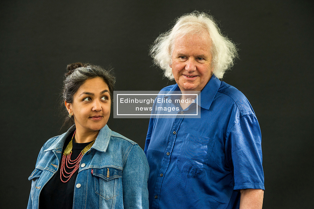 Pictured: Preti Taneja is research fellow in global Shakespeare at Queen Mary, University of London, and Warwick University and an AHRC/BBC New Generation Thinker 2014. She writes about human rights, contemporary India, literature and culture and is the editor of Visual Verse, an online anthology of art and words, and Ron Butlin is a Scottish poet and novelist who was Edinburgh Makar from 2008-14. He has written several novels, collections of short stories, poems and plays.<br /> <br /> Book fanatics headed to Charlotte Square in Edinburgh which is the hub of the international Book Festival to meet the authors and also to meet up with fellow fans of the printed word.<br /> <br /> <br /> Ger Harley   EEm 21 August 2017