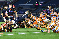 Viliame Mata scores try during the Guinness Pro 14 2018_19 match between Edinburgh Rugby and Toyota Cheetahs at BT Murrayfield Stadium, Edinburgh, Scotland on 5 October 2018.