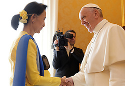 Pope Francis meets with Aung San Suu Kyi, State Counsellor and Union Minister for Foreign Affairs of the Republic of the Union of Myanmar (formerly Burma) during a private audience at the Vatican on May 4, 2017. Suu Kyi is in Rome to participate in a conference organized by the Italian parliament on gender equality and sustainable development. Photo by Eric Vandeville/ABACAPRESS.COM