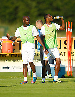 Fotball<br /> Treningsleir FC Anzhi Makhachkala<br /> Irdning Østerrike<br /> 02.07.2013<br /> Foto: Gepa/Digitalsport<br /> NORWAY ONLY<br /> <br /> Premjer-Liga, Anschi Machatschkala, IFCS Trainingslager. <br /> <br /> Bild zeigt Lassana Diara und Samuel Eto'o (Machatschkala).