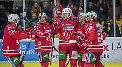 15.12.2019, Stadthalle, Klagenfurt, AUT, EBEL, EC KAC vs EHC Liwest Black Wings Linz, 28. Runde, im Bild Siim LIIVIK (EC KAC, #72), Patrik HARAND (EC KAC, #16), Adam COMRIE (EC KAC, #44), Manuel GEIER (EC KAC, #21), Martin SCHUMNIG (EC KAC, #28) // during the Erste Bank Eishockey League 28th round match between EC KAC and EHC Liwest Black Wings Linz at the Stadthalle in Klagenfurt, Austria on 2019/12/15. EXPA Pictures © 2019, PhotoCredit: EXPA/ Gert Steinthaler