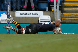 Wasps Winger Tom Varndell scores his second try of the match - Photo mandatory by-line: Rogan Thomson/JMP - 07966 386802 - 14/12/2014 - SPORT - RUGBY UNION - High Wycombe, England - Adams Park Stadium - Wasps v Castres Olympique - European Rugby Champions Cup Pool 2.