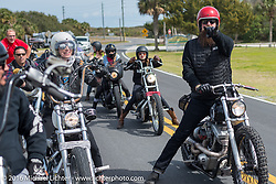 Jim Root while riding through Tomoka State Park during Daytona Bike Week 75th Anniversary event. FL, USA. Thursday March 3, 2016.  Photography ©2016 Michael Lichter.