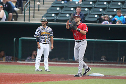 19 June 2015:  Joey Burney during a Frontier League Baseball game between the Lake Erie Crushers and the Normal CornBelters at Corn Crib Stadium on the campus of Heartland Community College in Normal Illinois