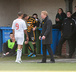 Falkirk's Phil Roberts passes Falkirk's manager Gary Holt after a second yellow card from ref George Salmond.<br /> Alloa Athletic 3 v 0 Falkirk, Scottish Championship game played today at Alloa Athletic's home ground, Recreation Park.<br /> © Michael Schofield.