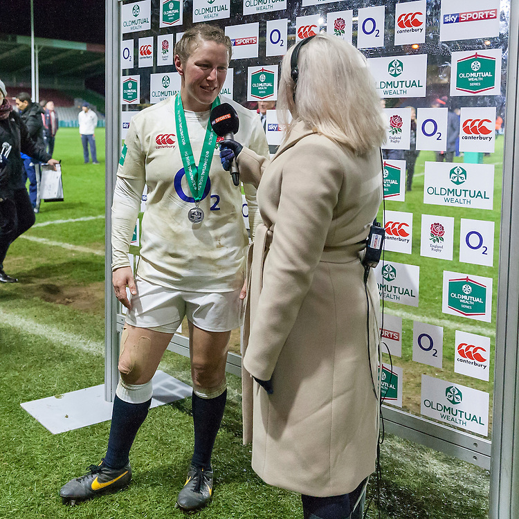 Rochelle Clark being interviewed post match about achieving her record equaling 114th Cap to join Jason Leonard as most capped England Players. England Women v France Women in an Old Mutual Wealth Series, Autumn International match at Twickenham Stoop, Twickenham, England, on 9th November 2016. Full Time score 10-5