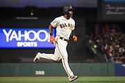 San Francisco Giants center fielder Denard Span (2) rounds the bases after hitting a home run against the Cincinnati Reds at AT&T Park in San Francisco, California, on May 11, 2017. (Stan Olszewski/Special to S.F. Examiner)