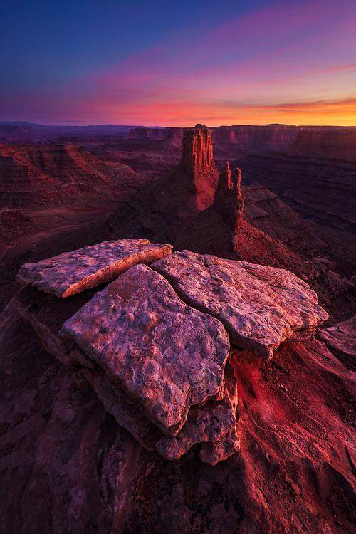 Beautiful and intense bounce light at sunset overlooking the canyon below Marlboro Point, Utah