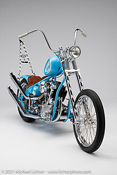 Larry, a S&S KN93, built by Mondo Porras, of Denvers Choppers.  Photographed by Michael Lichter in Sturgis, SD. August 5, 2021. ©2021 Michael Lichter