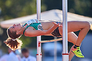 Poland, Radom - 2020 September 12: Julia Slocka (AZS-AWF Warszawa) from Poland competes in women's high jump final while 74. PZLA Athletics Polish Championships U20 - Radom 2020 - Day#2 during pandemic COVID-19 at MOSiR Stadium on September 12, 2020 in Radom, Poland.<br /> <br /> Mandatory credit:<br /> Photo by © Adam Nurkiewicz<br /> <br /> <br /> Adam Nurkiewicz declares that he has no rights to the image of people at the photographs of his authorship.<br /> <br /> Picture also available in RAW (NEF) or TIFF format on special request.<br /> <br /> Any editorial, commercial or promotional use requires written permission from the author of image. Single publication only for informational, journalistic or documentary purposes inside a newspaper, magazine or book (digital versions allowed). One edition on the territory of one country. Resale is forbidden.<br /> <br /> Image can be used in the press when the method of use and the signature does not hurt people on the picture.