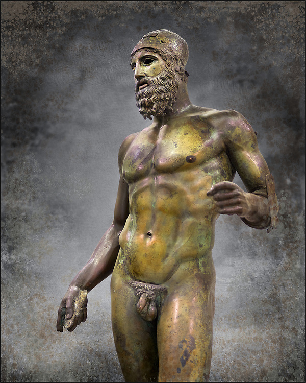 Torso of the Riace bronze Greek statue B cast about 460 - 450 BC. statue B was probably sculpted by Phidias. There is a sense of movement in the statues their legs being bent as if they are about to take a step. Their heads are turned which accentuates a sense of anticipation as if they are looking for something. The anatomical detail is extraordinary which gives a startling realism to the statue and demonstarte the high level of skill of the Greek sculptors of this peiod. Museo Nazionale della Magna Grecia,  Reggio Calabria, Italy. Wall art print by Photographer Paul E Williams .<br /> <br /> If you prefer visit our World Gallery Print Shop To buy a selection of our prints and framed prints desptached  with a 30-day money-back guarantee and is dispatched from 16 high quality photo art printers based around the world. ( not all photos in this archive are available in this shop) https://funkystock.photoshelter.com/p/world-print-gallery