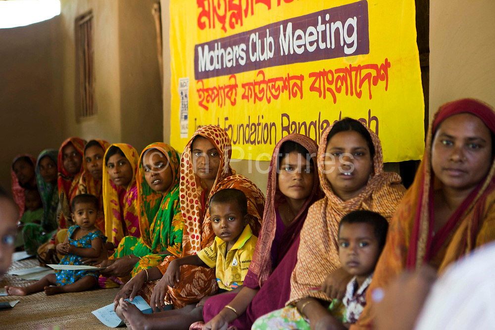 A Mother's Club meeting in Gobindohuda village receives nutrition training from an employee of IFB. meetings. There are around 900 mothers clubs in the region improving the lives of an estimated 50,000 children. <br /> Impact Foundation Bangladesh (IFB) provides care, support and treatment to people with disabilities in Bangladesh.