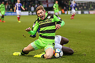 Forest Green Rovers Luke James(33) is brought down by Exeter City's Hiram Boateng(44) during the The FA Cup match between Forest Green Rovers and Exeter City at the New Lawn, Forest Green, United Kingdom on 2 December 2017. Photo by Shane Healey.