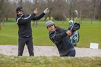 VELSEN -  Oud voetbalprofessional Orlando Trustfull en zijn dochter, de actrice  Moïse Trustfull ,  hebben het golf ontdekt op Golfbaan Spaarnwoude. COPYRIGHT  KOEN SUYK