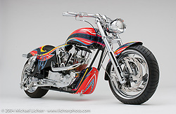 """""""OHC Sportster,"""" by Arlen Ness. Arlen took a Ness Dyna rubber-mount frame and converted it for this one of a kind 1,200-cc Sportster. Appears in the book The King of Choppers."""