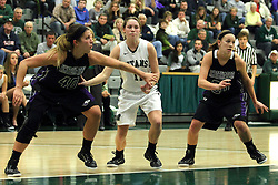 25 November 2014:  Lisa Palmer, Moly McGraw and Brooke Trewyn during an NCAA women's division 3 CCIW basketball game between the Wisconsin Whitewater Warhawks and the Illinois Wesleyan Titans in Shirk Center, Bloomington IL