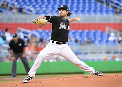 April 18, 2018 - Miami, FL, U.S. - MIAMI, FL - APRIL 13: Miami Marlins starting pitcher Dillon Peters (76) delivers a pitch to the plate  during the first inning of the Major League Baseball game between the Miami Marlins and the Pittsburgh Pirates on April 13, 2018  at Marlins Park in Miami, FL  (Photo by Juan Salas/Icon Sportswire) (Credit Image: © Juan Salas/Icon SMI via ZUMA Press)