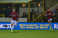 West Ham United attacker Lucas Perez (27) celebrating after scoring goal during the The FA Cup match between AFC Wimbledon and West Ham United at the Cherry Red Records Stadium, Kingston, England on 26 January 2019.