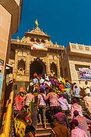 Shri Radha Rani Mandir (Hindu Temple),  Lathmar Holi (Holi, Festival of Colors), Barsana, near Mathura, Uttar Pradesh, India.