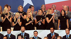 Team USA teams wives and girlfriends including Amy Mickelson (centre left), Jena Sims (centre right) and Paulina Gretzky (second left) during the opening ceremony of the Ryder Cup at Le Golf National, Saint-Quentin-en-Yvelines, Paris.