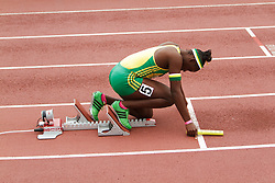 Girls 4x100 relay, sprinter in blocks