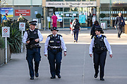 April 7, 2020, London, England, United Kingdom: Police is seen outside St Thomas' Hospital in central London as British Prime Minister Boris Johnson is in intensive care fighting the coronavirus in London, Tuesday, April 7, 2020. British Prime Minister Boris Johnson was moved to intensive care after his coronavirus symptoms worsened. Johnson was admitted to St Thomas' hospital in central London on Sunday after his coronavirus symptoms persisted for 10 days. Having been in the hospital for tests and observation, his doctors advised that he be admitted to intensive care on Monday evening. (Credit Image: © Vedat Xhymshiti/ZUMA Wire)
