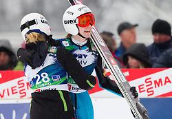 Spela Rogelj and Katja Pozun of Slovenia during Normal Hill Individual Competition at FIS World Cup Ski jumping Ladies Ljubno 2012, on February 11, 2012 in Ljubno ob Savinji, Slovenia. (Photo By Vid Ponikvar / Sportida.com)
