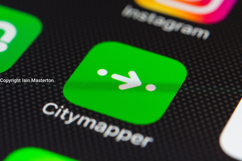 Citymapper online transport planning app close up on iPhone smart phone screen