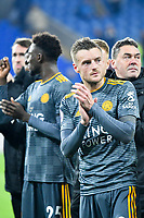 Football - 2018 / 2019 Premier League - Cardiff City vs. Leicester City<br /> <br /> Jamie Vardy of Leicester City applauds fans after the match in Leicster's 1st match since the death of Vichai Srivaddhanaprabha, at Cardiff City Stadium.<br /> <br /> COLORSPORT/WINSTON BYNORTH