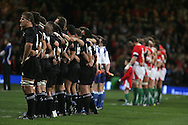 The teams line up for the national anthems. Invesco Perpetual series 2008 autumn international match, Wales v New Zealand at the Millennium Stadium on Sat 22nd Nov 2008. pic by Andrew Orchard, Andrew Orchard sports photography,