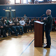Jamie Nabozny, who suffered hate crimes while a gay teenager in high school, speaks to an assembly at Wallenberg High School in San Francisco as part of a Teaching Tolerance Documentary on hate within our schools.