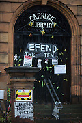 The front of the closed Carnegie Library in Herne Hill, on 20th December 2017, in the south London borough of Lambeth, , England. Shut by Lambeth council and occupied by protesters for 10 days in April, the library which was bequeathed by American philanthropist, Andrew Carnegie has been locked ever since because, say Lambeth austerity cuts are necessary even though 24hr security make it more expensive to keep closed than open for the local community. A gym that locals say they dont want or need is planned to replace the working library and while some of the 20,000 books on shelves will remain, no librarians will be present to administer it.