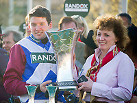 National Hunt Horse Racing - 2017 Randox Grand National Festival - Saturday, Day Three [Grand National Day]<br /> <br /> Derek Fox  & trainer Lucinda Russell with the trophy after  One For Arthur wins  the 5.15, the Randox Health Grand National  at Aintree Racecourse.<br /> <br /> COLORSPORT/WINSTON BYNORTH<br /> <br /> <br /> <br /> <br /> <br /> <br /> <br /> <br /> <br /> <br /> National Hunt Horse Racing - 2017 Randox Grand National Festival - Saturday, Day Three [Grand National Day]<br /> <br />  in the 1st race the 1.45 Gaskells Handicap Hurdle at Aintree Racecourse.<br /> <br /> COLORSPORT/WINSTON BYNORTH