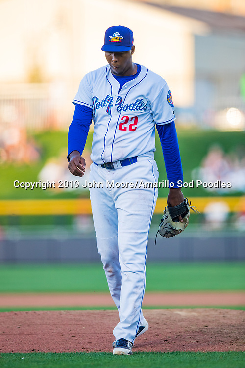 Amarillo Sod Poodles pitcher Dauris Valdez (22) against the Frisco RoughRiders on Sunday, Aug. 4, 2019, at HODGETOWN in Amarillo, Texas. [Photo by John Moore/Amarillo Sod Poodles]