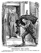 "Delivering the Goods. Sir Herbert Samuel. ""Well, anyhow, it's been well and truly weighed, and there's no slack in it."" (cartoon showing Herbert Samuel as a coal delivery man at Prime Minister Stanley Baldwin's 10 Downing Street doorstep with a bag of the Coal Commission Report during the InterWar era)"