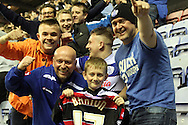 a young fan with Queens Park Rangers Joey Barton's shirt. Skybet football league championship play off semi final, 1st leg match, Wigan Athletic v QPR at the DW Stadium in Wigan, England on Friday 9th May 2014.<br /> pic by Chris Stading, Andrew Orchard sports photography.