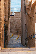 Israel, renovated old city of Jaffa now an artist's colony. A narrow alley