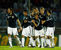 Fotball<br /> Foto: Piko Press/Digitalsport<br /> NORWAY ONLY<br /> <br /> ARGENTINA win over URUGUAY at a soccer match, and its qualify for the FIFA World Cup  South Africa 2010 <br /> October 12, 2009<br /> <br /> Argentine players celebrating with MARIO BOLATTI his goal.