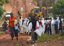FREETOWN, Aug. 17, 2017  Local people transfer their belongings to a secured area on the site of the mudslide in Freetown, capital of Sierra Leone, on Aug. 17, 2017. Altogether 331 bodies have been taken to the morgue by the rescue team following the devastating mudslide, according to Sinneh Kamara, head of the Connaught Mortuary in Freetown, capital of Sierra Leone, on Thursday. (Credit Image: © Chen Cheng/Xinhua via ZUMA Wire)
