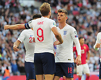 Football - 2018 / 2019 UEFA European Championships Qualifier - Group A: England vs. Bulgaria<br /> <br /> Mason Mount making his Debut as a second half substitute, celebrates with Harry Kane after scoring his hat trick from the penalty spot at Wembley Stadium.<br /> <br /> COLORSPORT/ANDREW COWIE