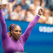2019 US Open Tennis Tournament- Day Seven.  Serena Williams of the United States celebrates victory against Petra Martic of Croatia in the Women's Singles round four match on Arthur Ashe Stadium during the 2019 US Open Tennis Tournament at the USTA Billie Jean King National Tennis Center on September 1st, 2019 in Flushing, Queens, New York City.  (Photo by Tim Clayton/Corbis via Getty Images)