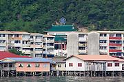 Water Village, Chinese temple and apartment blocks, in Kampung Buli Sim Sim, Sandakan, Sabah