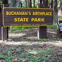Fort Loudon, PA, USA - September 14, 2014: Buchanan's Birthplace State Park entrance sign.