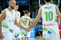 Zoran Dragic of Slovenia and Klemen Prepelic of Slovenia celebrates during basketball match between Slovenia and Macedonia at Day 6 in Group C of FIBA Europe Eurobasket 2015, on September 10, 2015, in Arena Zagreb, Croatia. Photo by Vid Ponikvar / Sportida