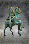 Original Roman bronze statue of Emperor Marcus Aurelius on horseback. 175 AD. Marcus Aurelus was the last of the Five Good Emperors, and is also considered one of the most important Stoic philosophers. In 1979 it was discovered that the the equestrian statue of Marcus Aurelius, in the courtyard of the Capitline Museum, had suffered badly from corrosion, particularly in its legs. The staue was removed from Michael Angelo's plinth and was transferred to the National Instution for the Restoration of works of art for preservation. On the 11th of April 1990 the restored statue was returned to the Cpitaline courtyard and covered with a glass protective casing. The glass box ruined the design of Michael Angelo's courtyard and it was decided to make a copy to display in the courted and move the original into the Capitoiline Musuem. This is a rare example of a bronze equestrian statue as it became common practice for the Romans in the late empire to melt down bronze statues to mint coins. The Capitoline Museums, Rome.  Wall art print by Photographer Paul E Williams .<br /> <br /> If you prefer visit our World Gallery Print Shop To buy a selection of our prints and framed prints desptached  with a 30-day money-back guarantee and is dispatched from 16 high quality photo art printers based around the world. ( not all photos in this archive are available in this shop) https://funkystock.photoshelter.com/p/world-print-gallery
