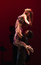 "© Licensed to London News Pictures. 30/01/2013. London, England. Scene: Libertango danced by Sebastian Alvarez and Victoria Saudelli. The show ""FLAMES OF DESIRE"" by the Argentine dance company ""TANGO FIRE"" opens at the Peacock Theatre, London for a run to 24 February 2013. Photo credit: Bettina Strenske/LNP"