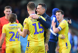 Bristol Rovers Assistant manger Chris <br /> Hargreaves embraces James Clarke of Bristol Rovers at full time. - Mandatory by-line: Alex James/JMP - 09/03/2019 - FOOTBALL - Glanford Park - Scunthorpe, England - Scunthorpe United v Bristol Rovers - Sky Bet League One